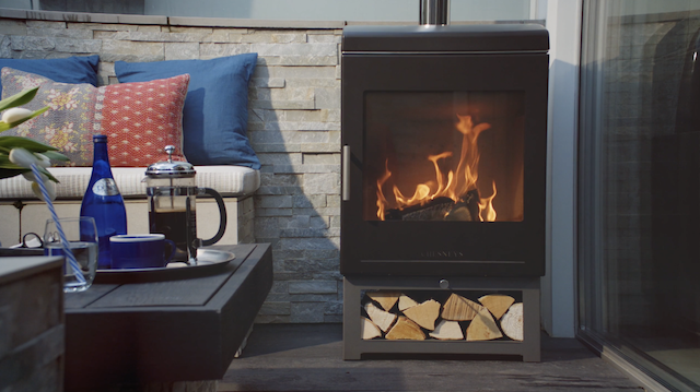 still from Chesneys product video featuring outdoor heater