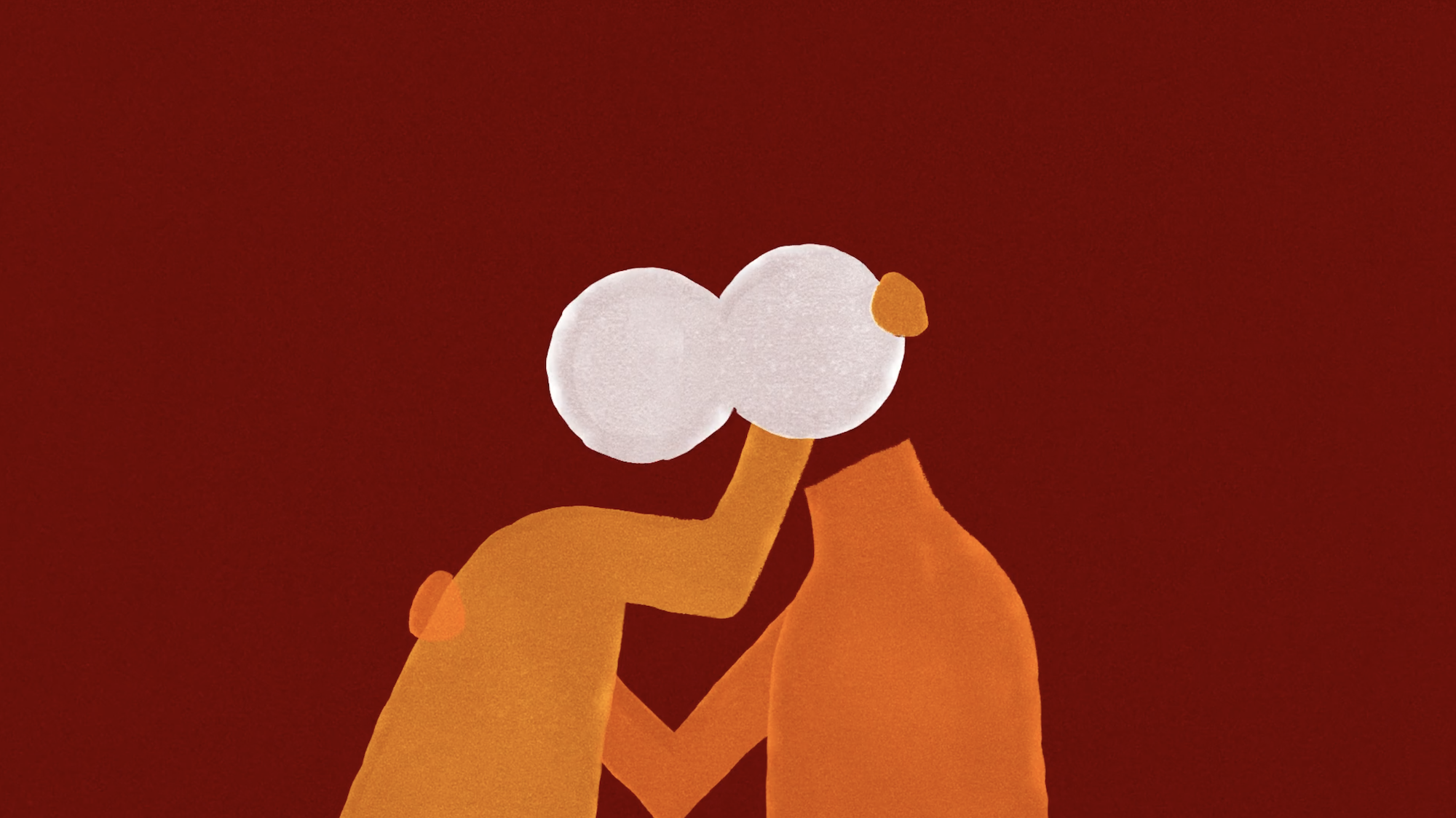 Screenshot from Tomorrow's on Fire - Two animated figures holding each other