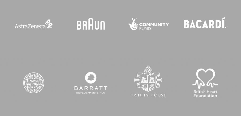 Brand Logos - AstraZeneca, Braun, National Lottery Community Fund, Bacardi, Pizza Express, Barratt, Trinity House, British Heart foundation