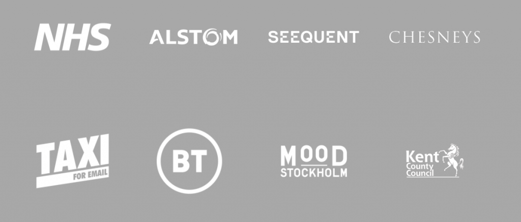 brand logos - NHS, Alstom, Seequent, Chesneys, Taxi For Email, BT, Mood Stockholm, Kent County Council