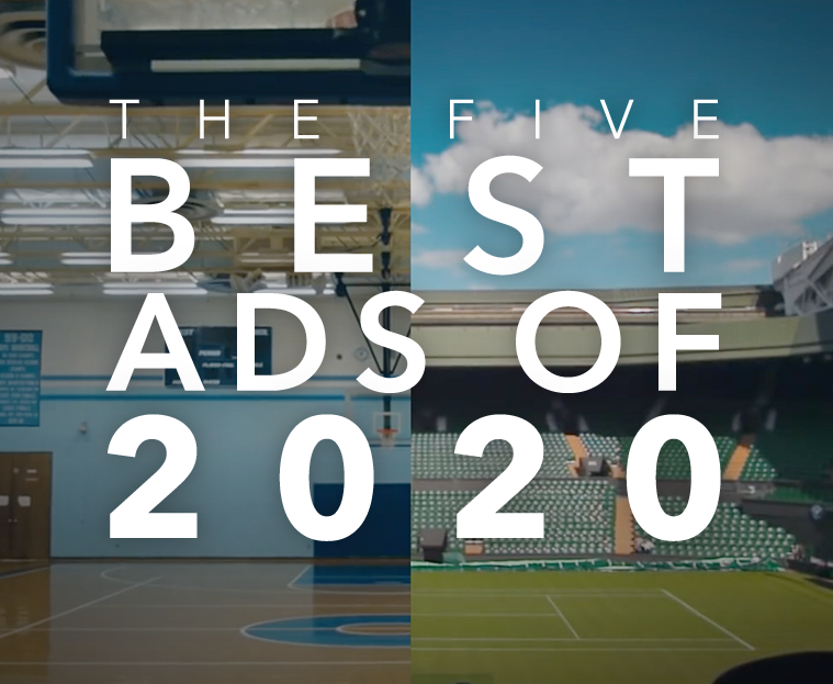 "Image featuring still from Nike ad with text that reads ""THE FIVE BEST ADS OF 2020"""