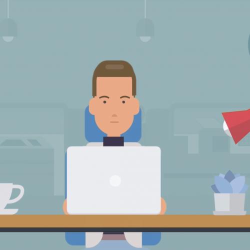 Still from JPS animated explainer of man using laptop at desk