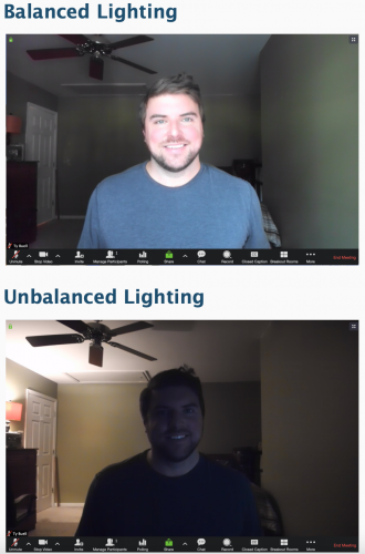 Image showing difference between Balanced Lighting and Unbalanced Lighting in a zoom call