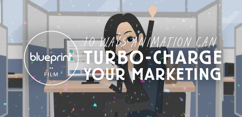 """Still from animation reel featuring text reading """"10 Ways Animation Can Turbo-Charge Your Marketing"""