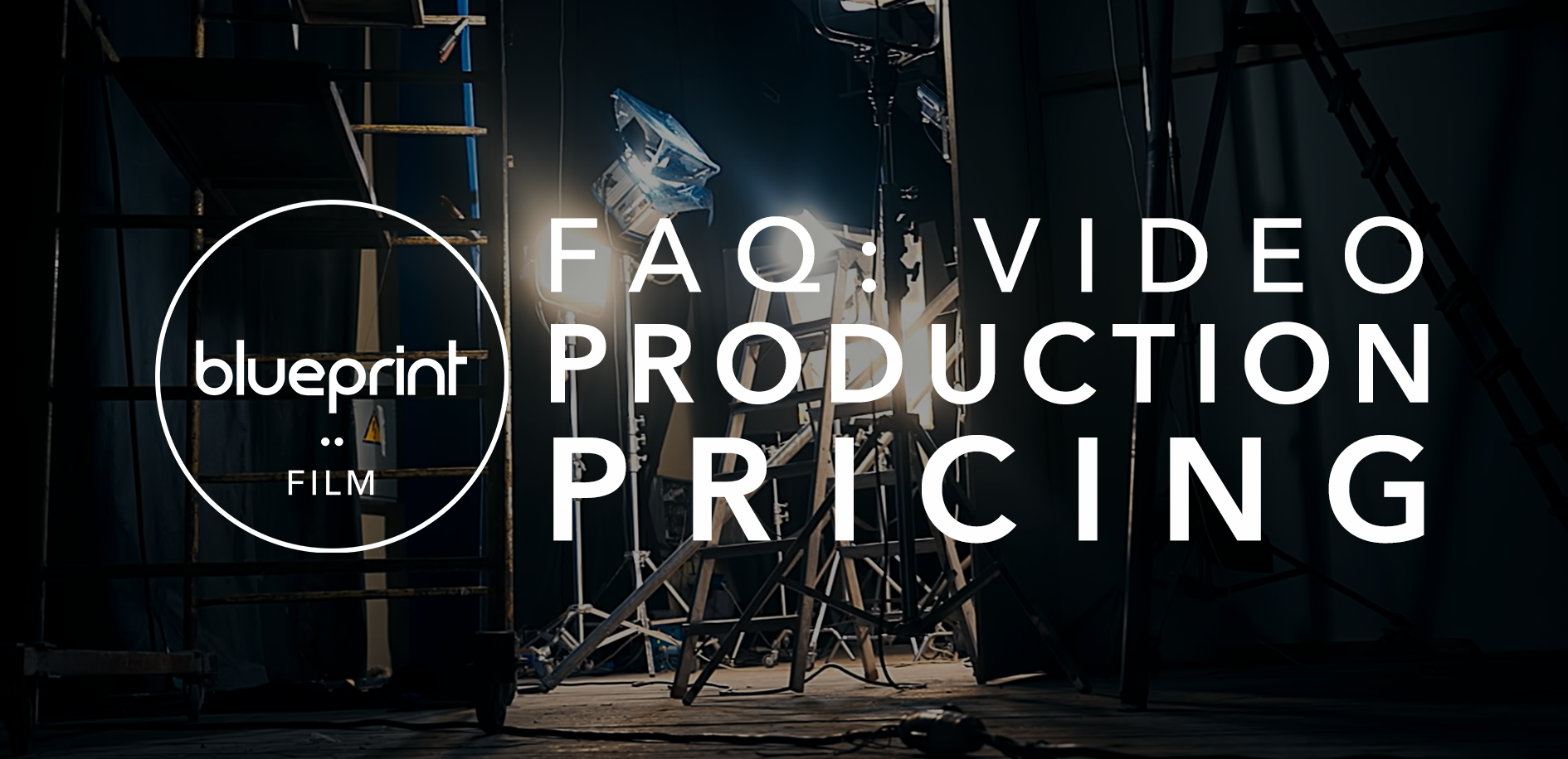 """Image of camera set up with text reading """"FAQ: Video Production Pricing"""""""