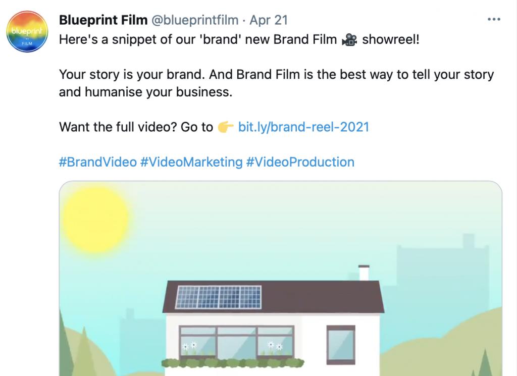 screenshot showing example of repurposing video content as a tweet