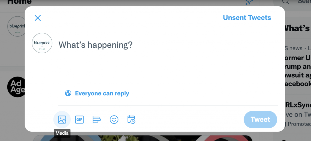 screenshot of how to tweet media